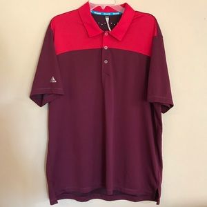 Adidas XL Golf Polo Shirt ClimaChill Red Maroon